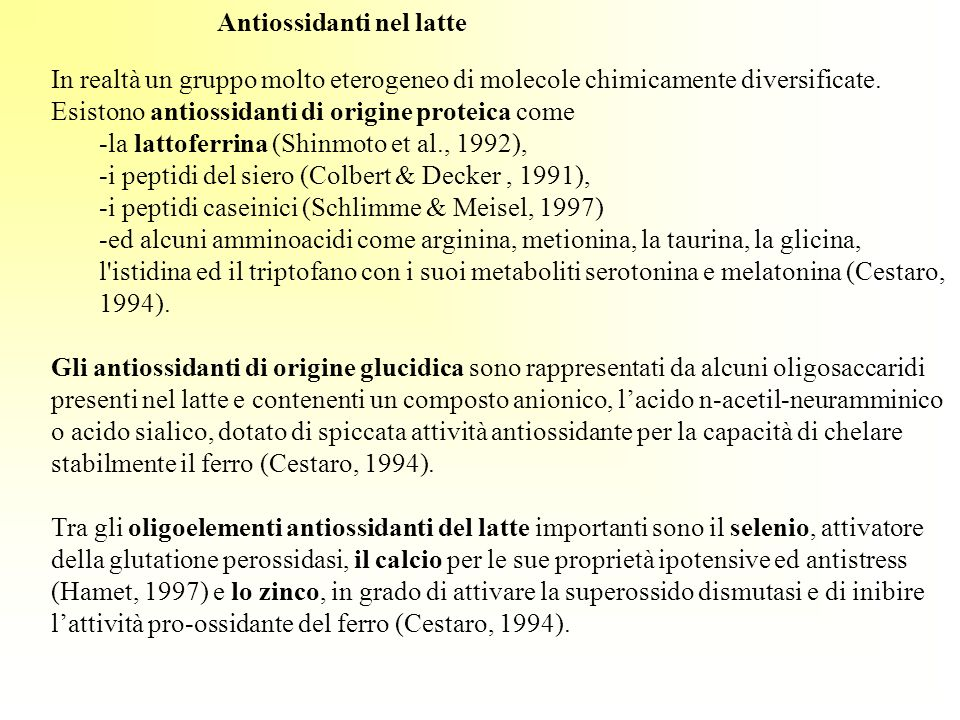 Antiossidanti nel latte