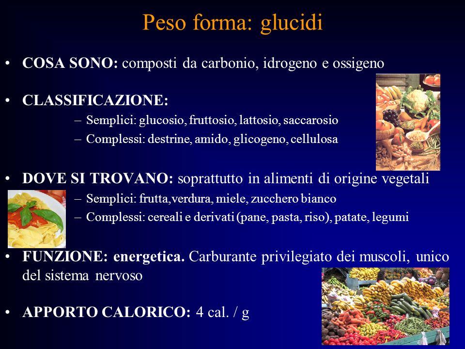 Peso forma: glucidiCOSA SONO: composti da carbonio, idrogeno e ossigeno. CLASSIFICAZIONE: Semplici: glucosio, fruttosio, lattosio, saccarosio.