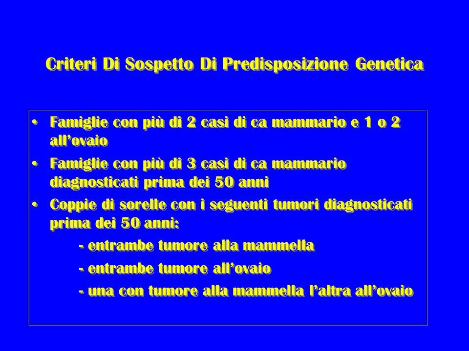 Criteri Di Sospetto Di Predisposizione Genetica