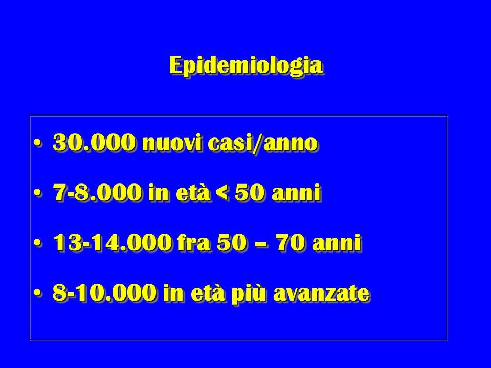 Epidemiologia 30.000 nuovi casi/anno. 7-8.000 in età < 50 anni.