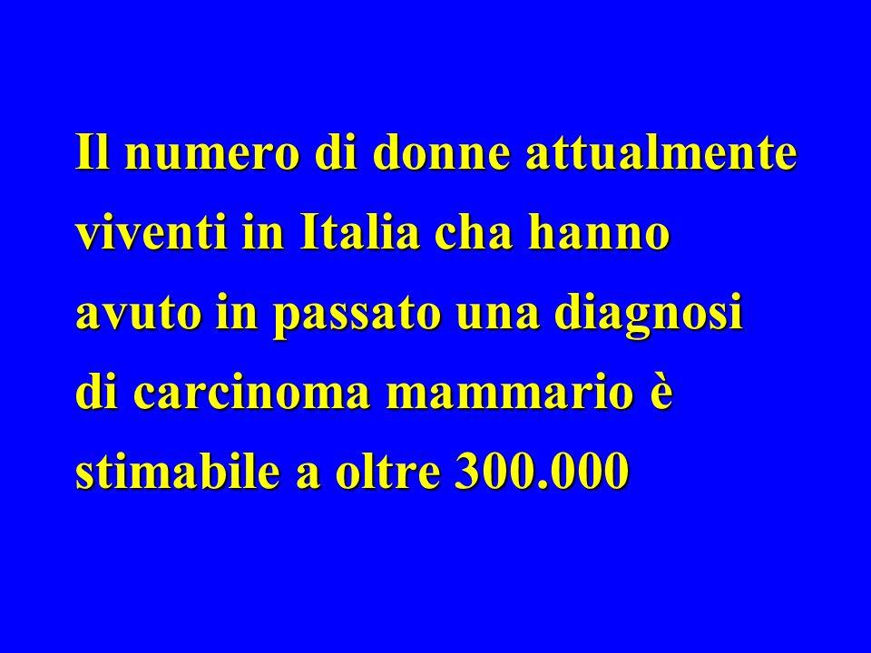 Il numero di donne attualmente viventi in Italia cha hanno avuto in passato una diagnosi di carcinoma mammario è stimabile a oltre 300.000