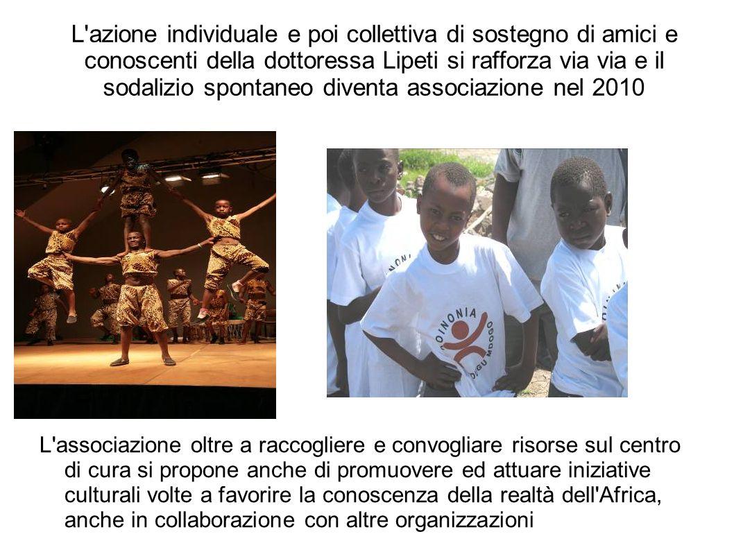 L azione individuale e poi collettiva di sostegno di amici e conoscenti della dottoressa Lipeti si rafforza via via e il sodalizio spontaneo diventa associazione nel 2010