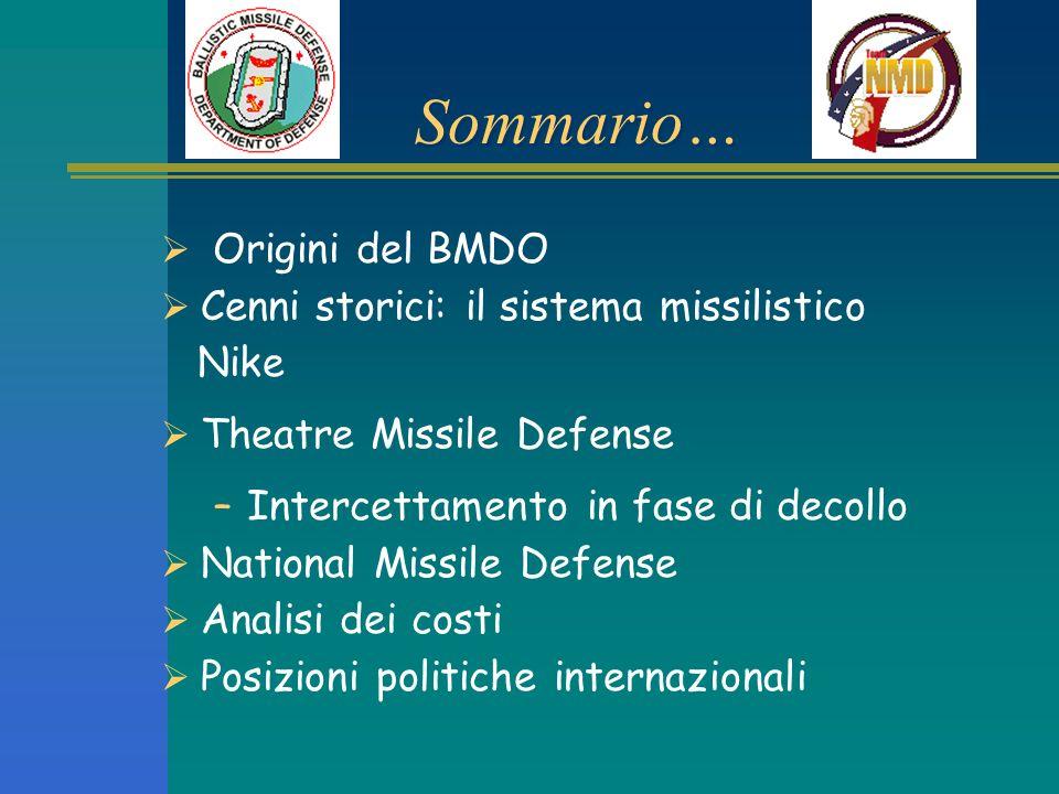 Sommario… Origini del BMDO Cenni storici: il sistema missilistico Nike