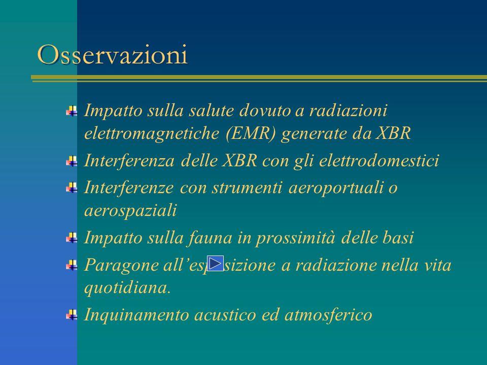 Osservazioni Impatto sulla salute dovuto a radiazioni elettromagnetiche (EMR) generate da XBR. Interferenza delle XBR con gli elettrodomestici.