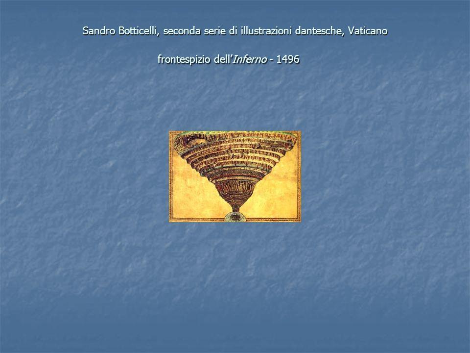 Sandro Botticelli, seconda serie di illustrazioni dantesche, Vaticano frontespizio dell'Inferno - 1496