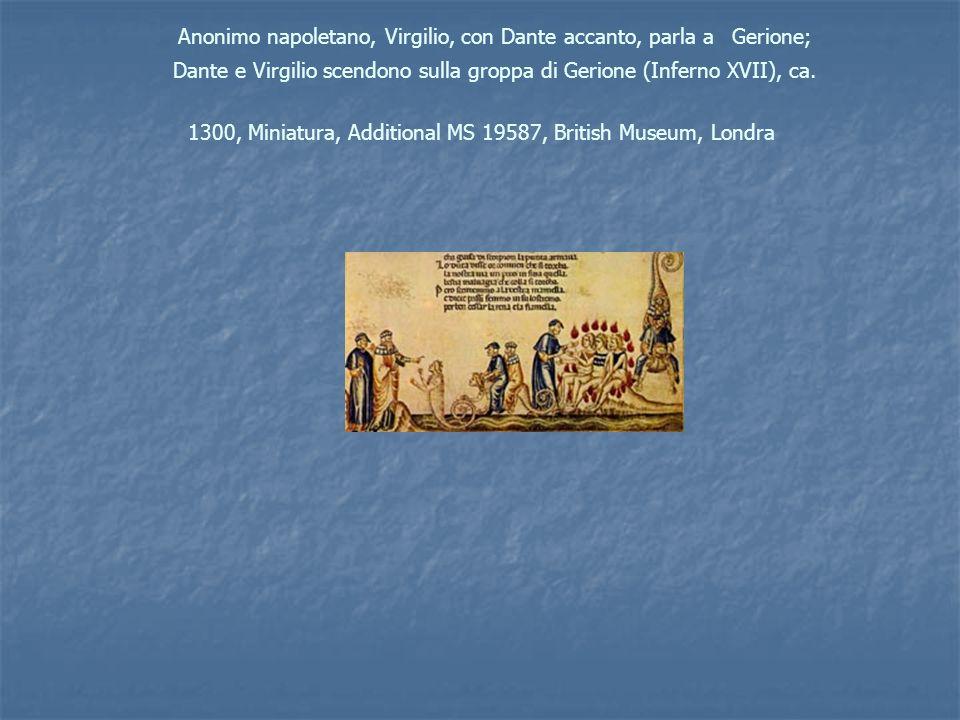 Anonimo napoletano, Virgilio, con Dante accanto, parla a Gerione; Dante e Virgilio scendono sulla groppa di Gerione (Inferno XVII), ca.