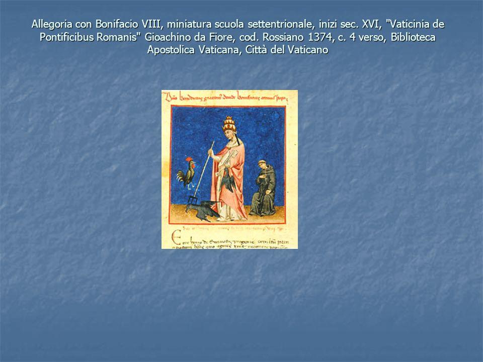 Allegoria con Bonifacio VIII, miniatura scuola settentrionale, inizi sec.