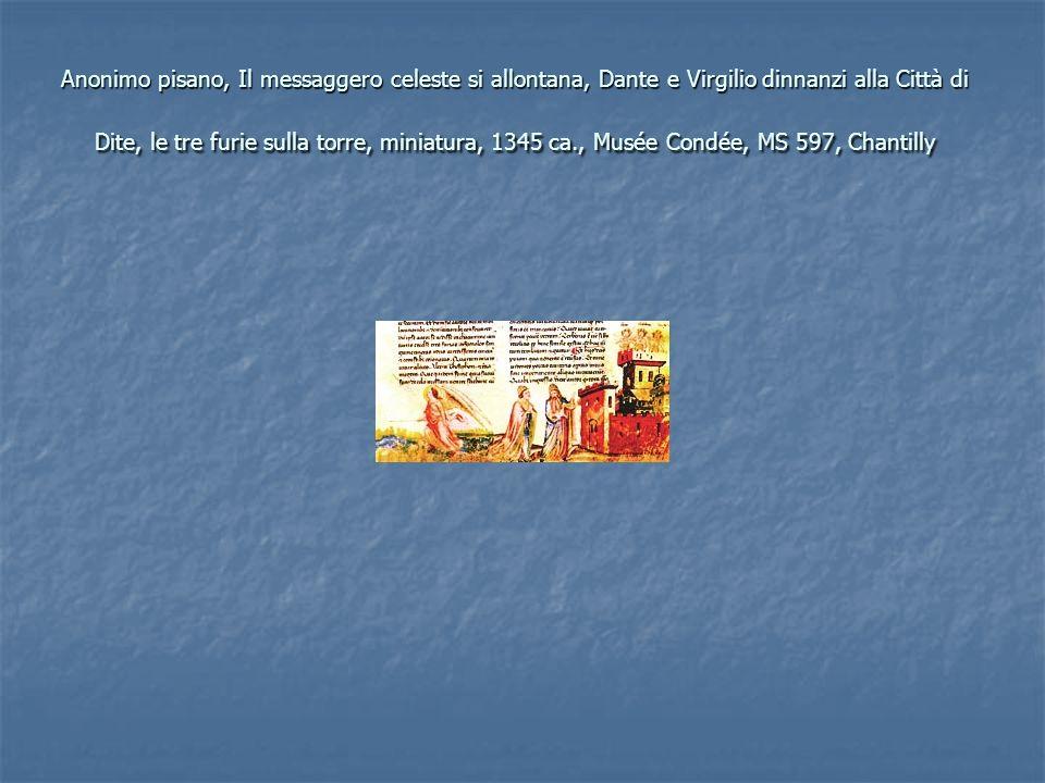 Anonimo pisano, Il messaggero celeste si allontana, Dante e Virgilio dinnanzi alla Città di Dite, le tre furie sulla torre, miniatura, 1345 ca., Musée Condée, MS 597, Chantilly
