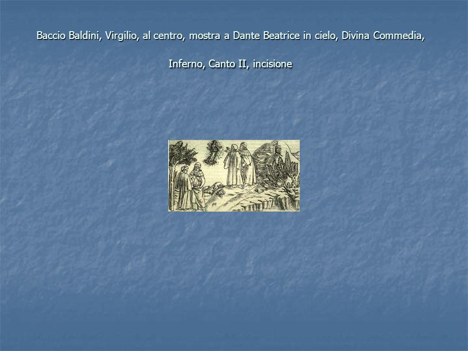 Baccio Baldini, Virgilio, al centro, mostra a Dante Beatrice in cielo, Divina Commedia, Inferno, Canto II, incisione