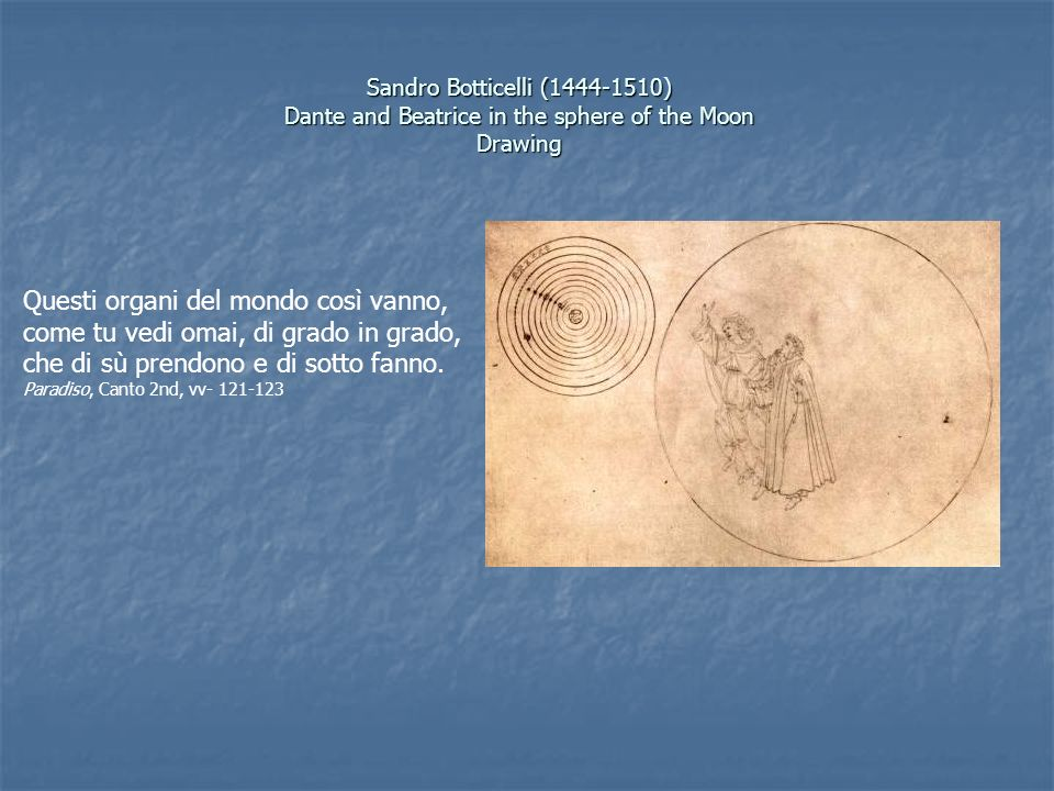 Sandro Botticelli ( ) Dante and Beatrice in the sphere of the Moon Drawing