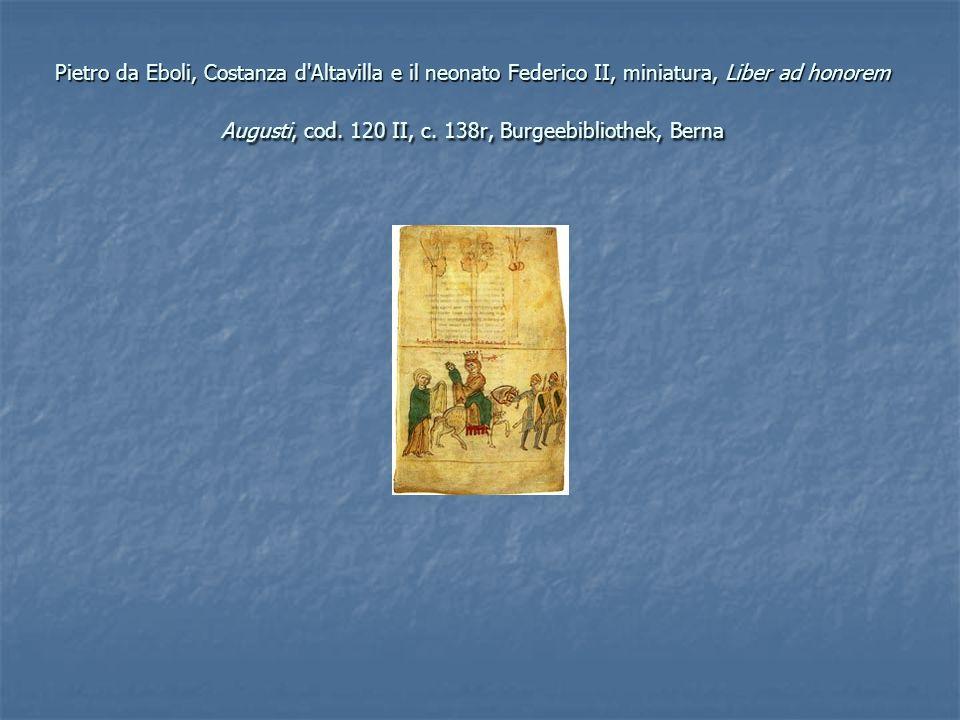 Pietro da Eboli, Costanza d Altavilla e il neonato Federico II, miniatura, Liber ad honorem Augusti, cod.