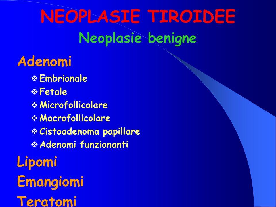 NEOPLASIE TIROIDEE Neoplasie benigne Adenomi Lipomi Emangiomi Teratomi