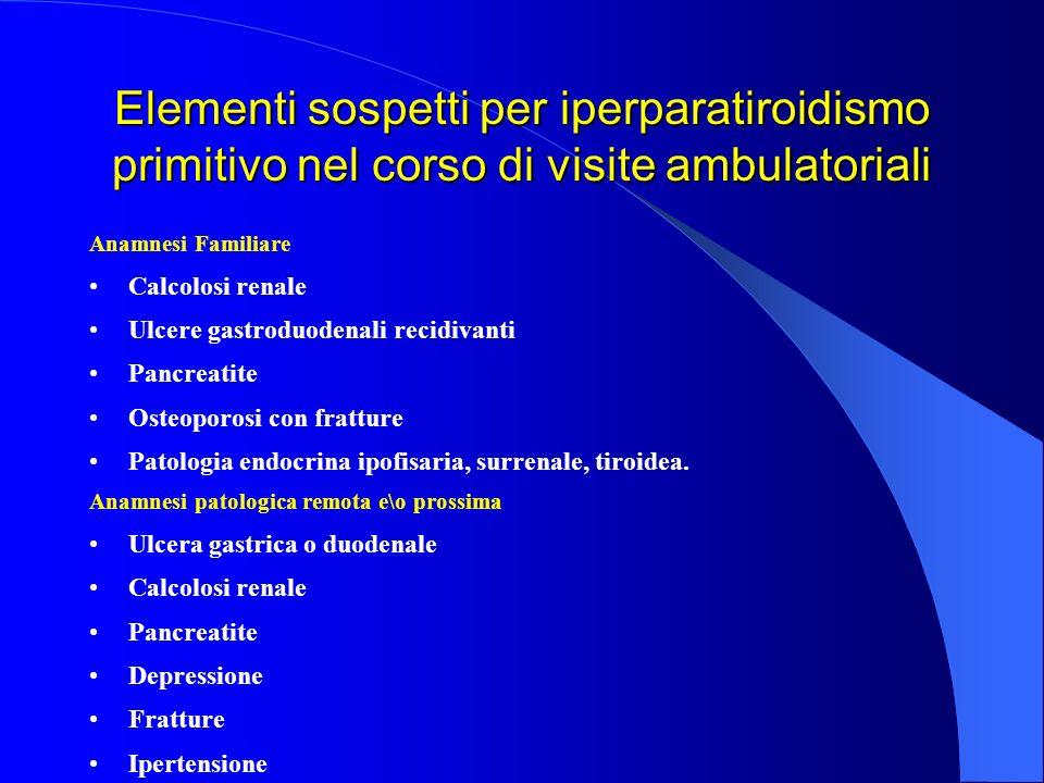 Elementi sospetti per iperparatiroidismo primitivo nel corso di visite ambulatoriali