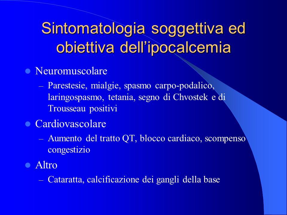 Sintomatologia soggettiva ed obiettiva dell'ipocalcemia
