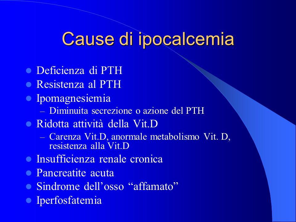 Cause di ipocalcemia Deficienza di PTH Resistenza al PTH