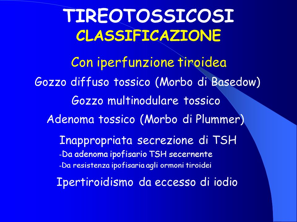 TIREOTOSSICOSI CLASSIFICAZIONE
