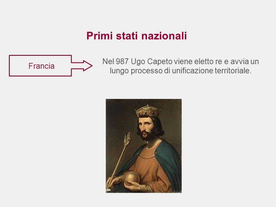 Primi stati nazionali Nel 987 Ugo Capeto viene eletto re e avvia un lungo processo di unificazione territoriale.