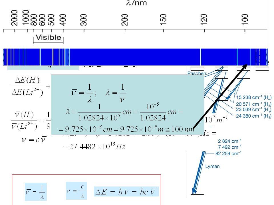 La prima riga di Lyman per l'atomo di H è 102824 cm-1.