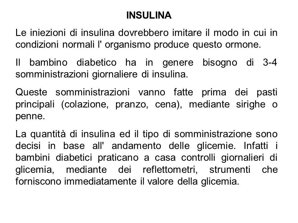 INSULINA Le iniezioni di insulina dovrebbero imitare il modo in cui in condizioni normali l organismo produce questo ormone.