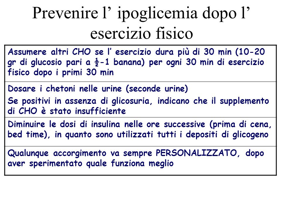Prevenire l' ipoglicemia dopo l' esercizio fisico