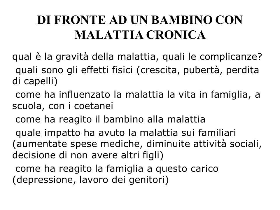 DI FRONTE AD UN BAMBINO CON MALATTIA CRONICA