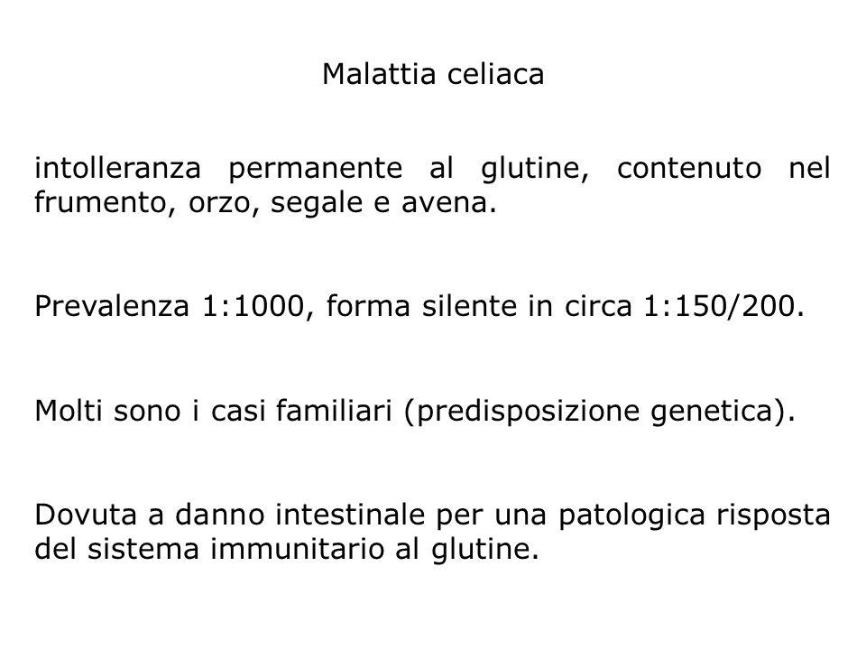 Malattia celiaca intolleranza permanente al glutine, contenuto nel frumento, orzo, segale e avena.