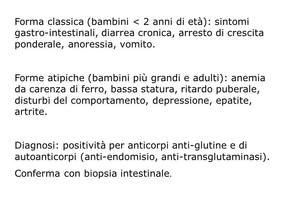 Forma classica (bambini < 2 anni di età): sintomi gastro-intestinali, diarrea cronica, arresto di crescita ponderale, anoressia, vomito.