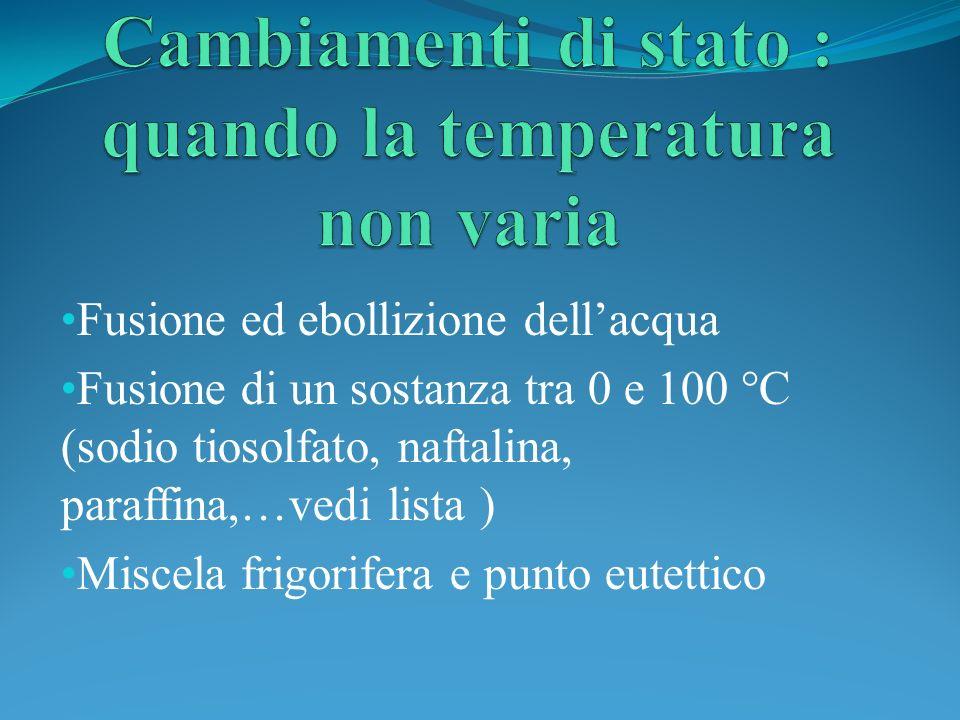 Cambiamenti di stato : quando la temperatura non varia