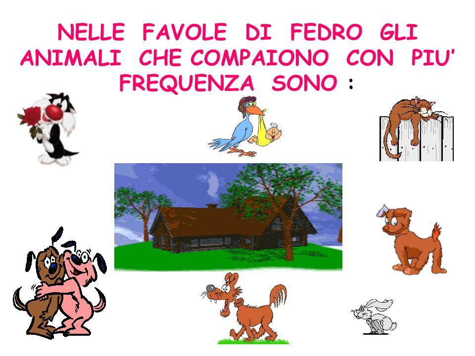 NELLE FAVOLE DI FEDRO GLI ANIMALI CHE COMPAIONO CON PIU' FREQUENZA SONO :
