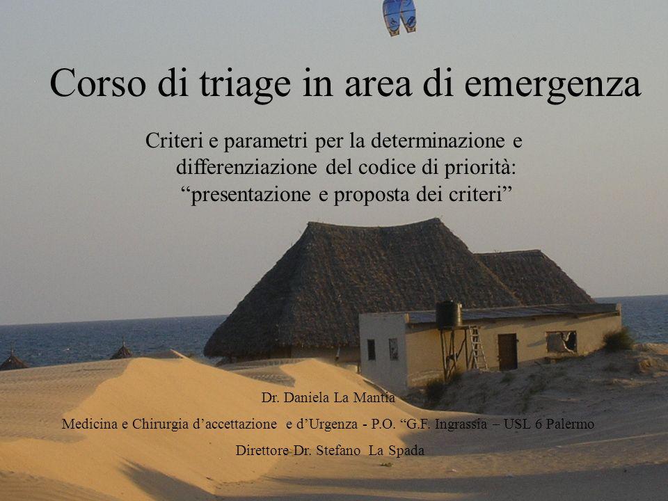 Corso di triage in area di emergenza