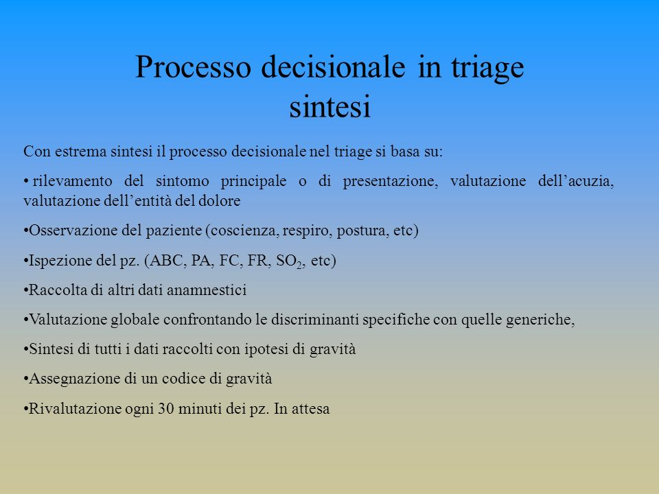 Processo decisionale in triage sintesi