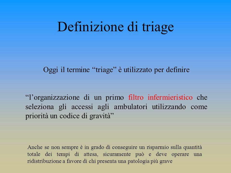 Oggi il termine triage è utilizzato per definire