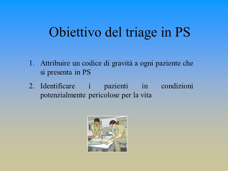 Obiettivo del triage in PS