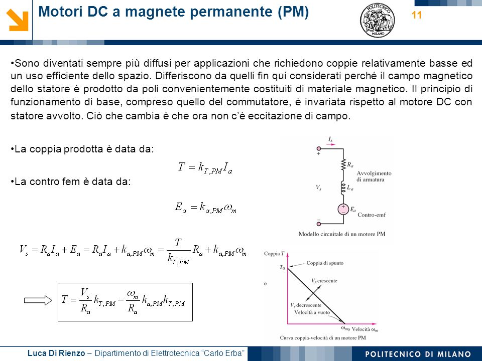 Motori DC a magnete permanente (PM)
