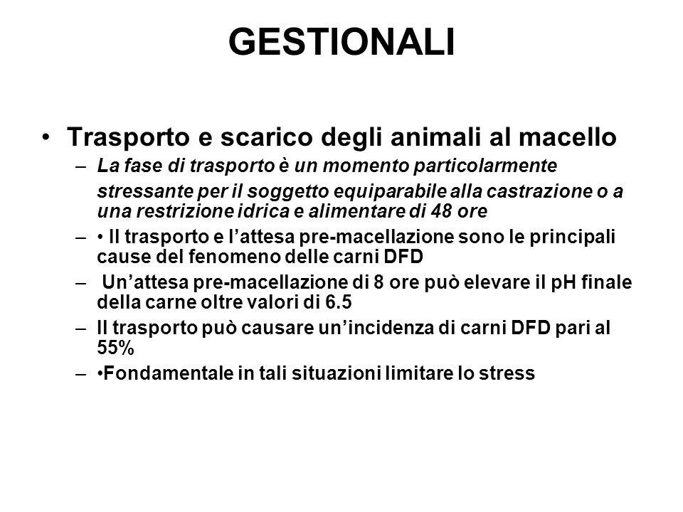 GESTIONALI Trasporto e scarico degli animali al macello