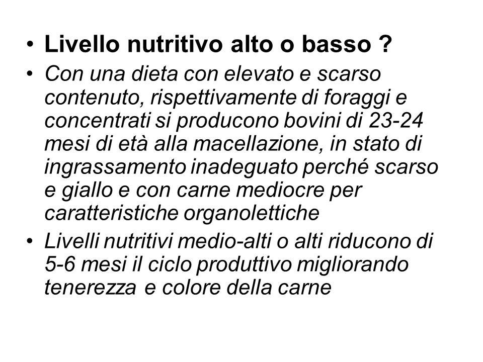 Livello nutritivo alto o basso