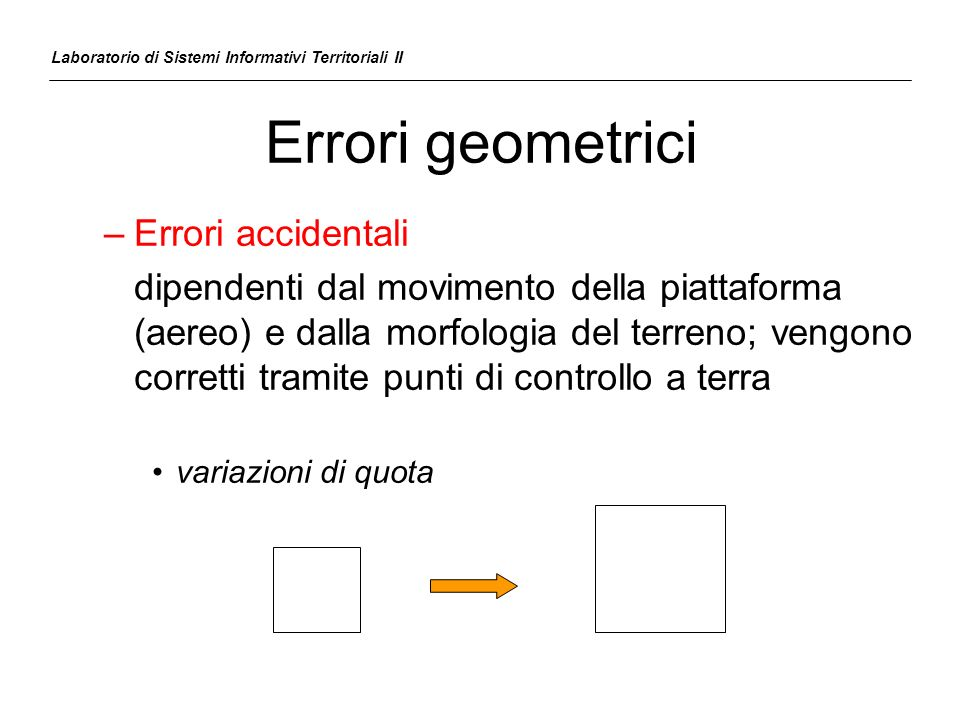 Errori geometrici Errori accidentali