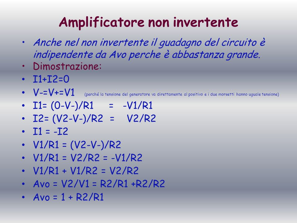 Amplificatore non invertente
