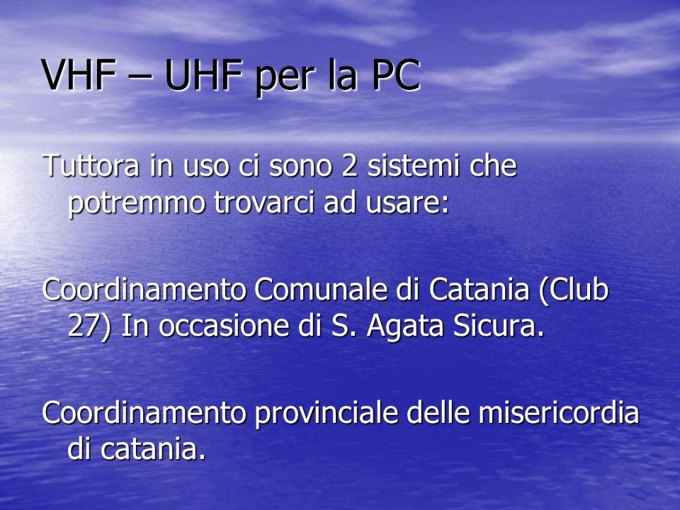 VHF – UHF per la PC Tuttora in uso ci sono 2 sistemi che potremmo trovarci ad usare: