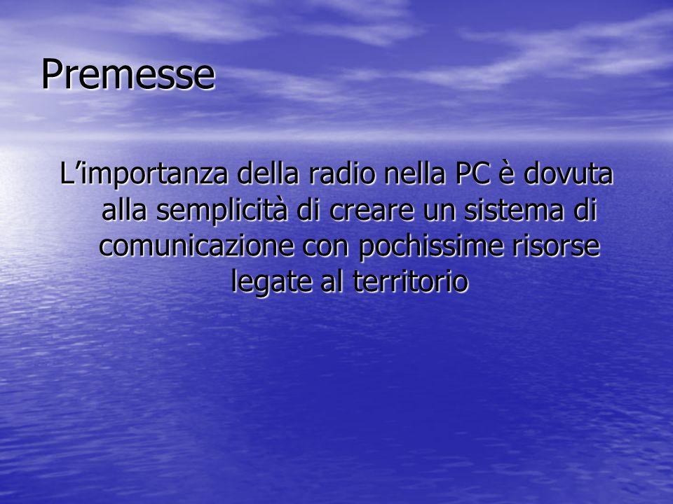Premesse L'importanza della radio nella PC è dovuta alla semplicità di creare un sistema di comunicazione con pochissime risorse legate al territorio.