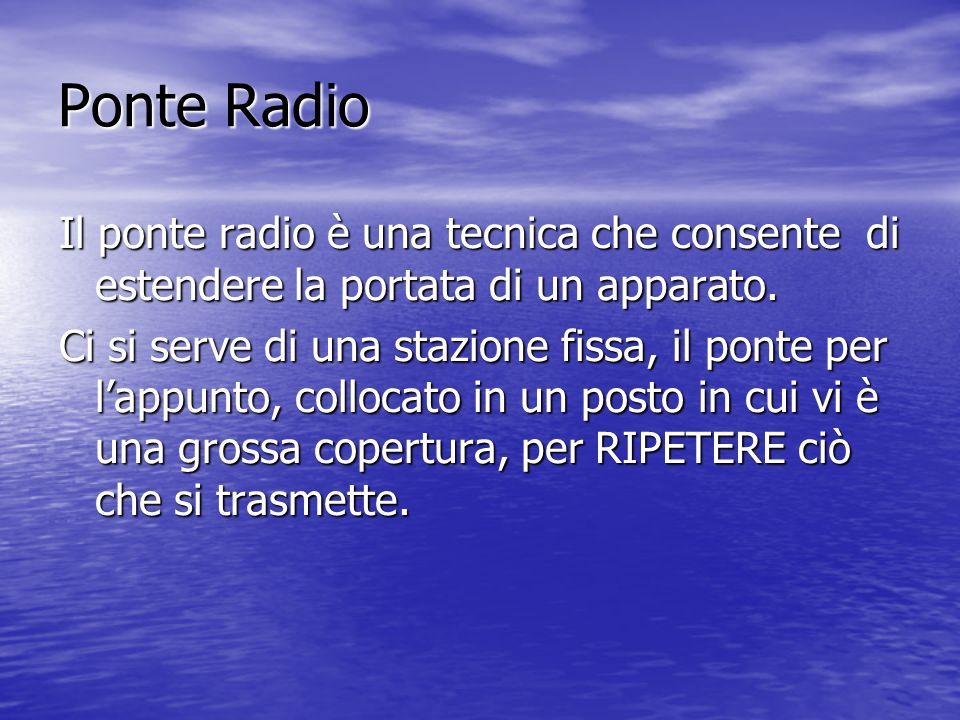Ponte Radio Il ponte radio è una tecnica che consente di estendere la portata di un apparato.