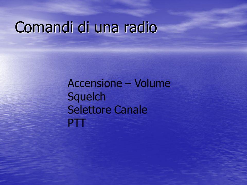 Comandi di una radio Accensione – Volume Squelch Selettore Canale PTT