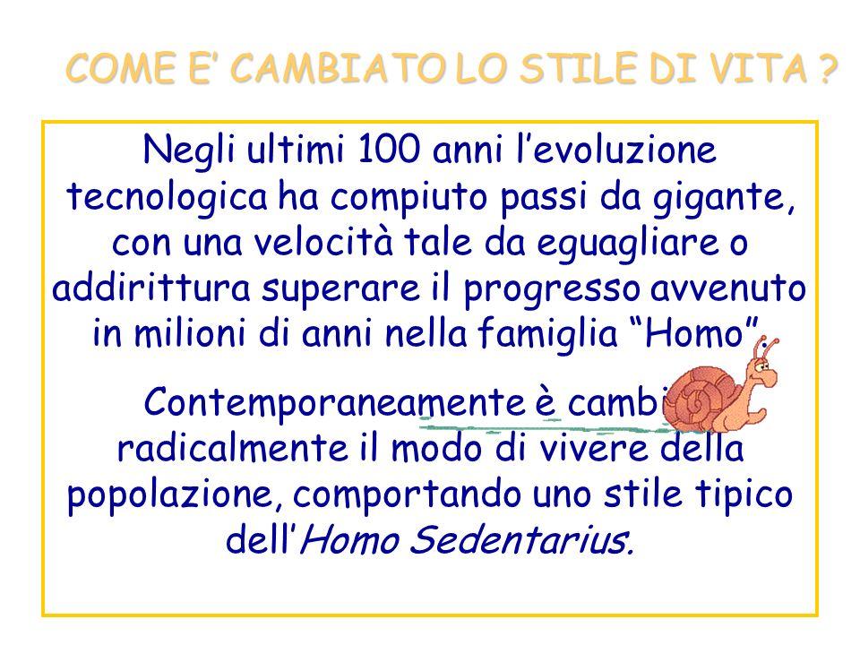 COME E' CAMBIATO LO STILE DI VITA
