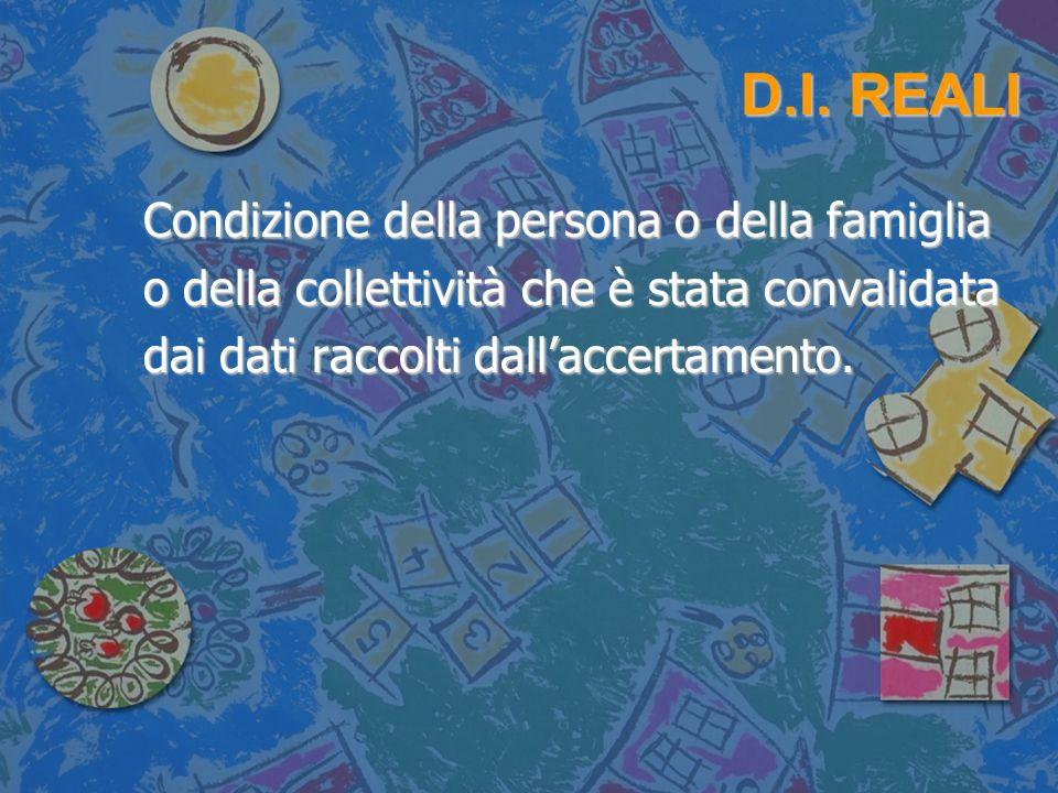 D.I. REALI Condizione della persona o della famiglia