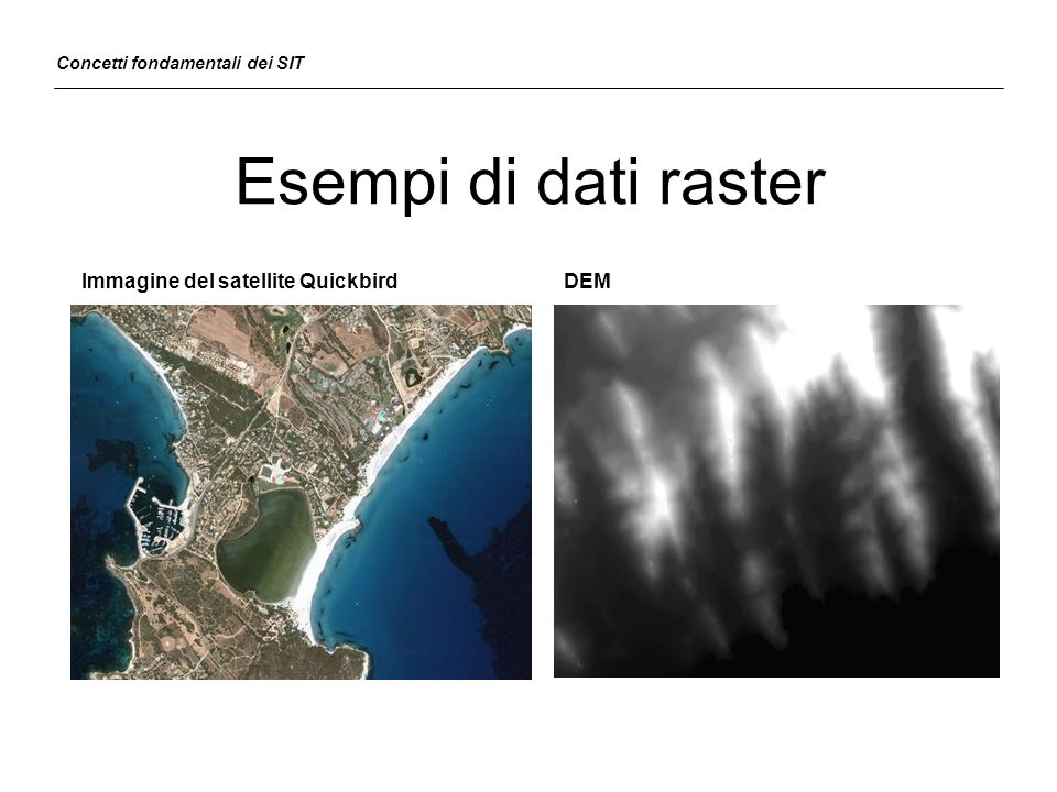 Esempi di dati raster Immagine del satellite Quickbird DEM