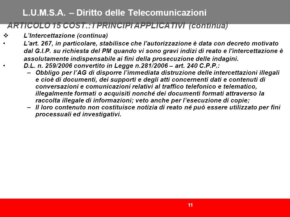 L.U.M.S.A. – Diritto delle Telecomunicazioni