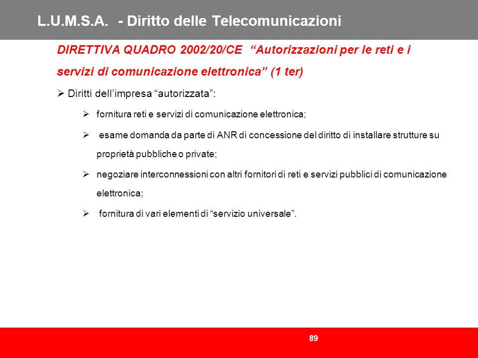 L.U.M.S.A. - Diritto delle Telecomunicazioni