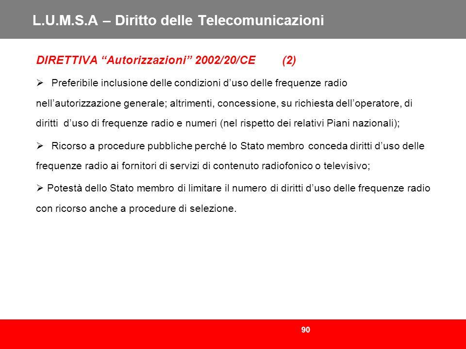 L.U.M.S.A – Diritto delle Telecomunicazioni