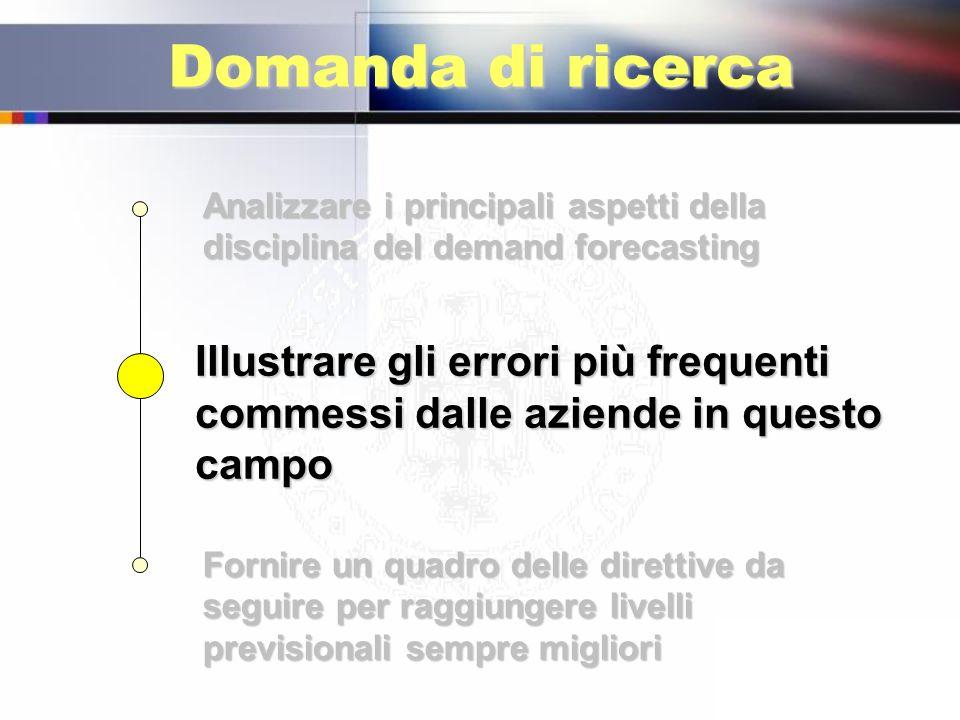 Domanda di ricerca Analizzare i principali aspetti della disciplina del demand forecasting.