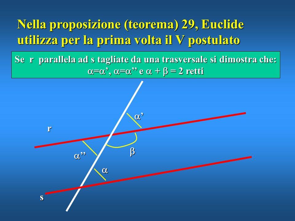 Nella proposizione (teorema) 29, Euclide utilizza per la prima volta il V postulato